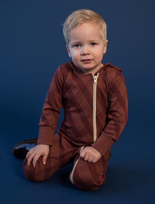 MILAN Jumpsuit Neulehaalari, Check Brown