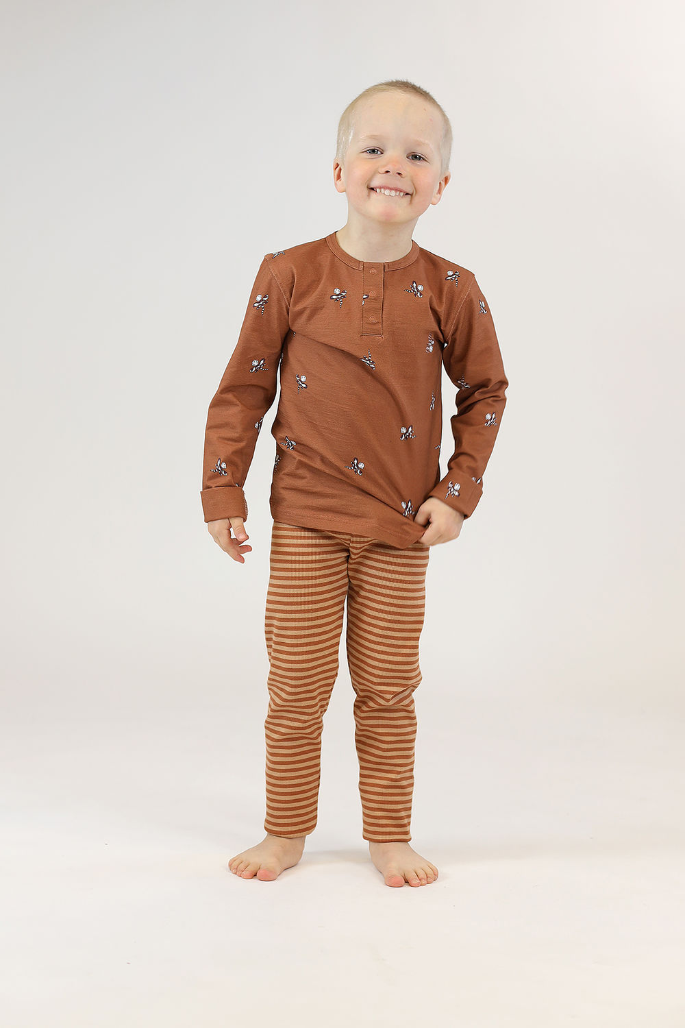 PARIS Leggingsit, Stripe Brown